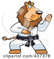 Royalty Free RF Clipart Illustration Of A Karate Lion With A Red Belt