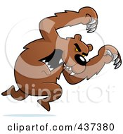 Royalty Free RF Clipart Illustration Of A Mean Bear Running With Claws Out