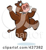 Royalty Free RF Clipart Illustration Of An Excited Boar Jumping