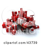 Red And White Christmas Gifts Stacked On Top Of A Pallet Truck
