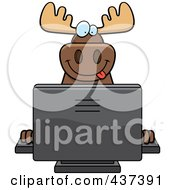 Royalty Free RF Clipart Illustration Of A Happy Moose Using A Desktop Computer