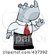 Royalty Free RF Clipart Illustration Of A Business Rhino Standing And Waving