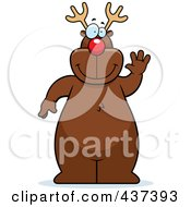 Royalty Free RF Clipart Illustration Of Rudolph Standing And Waving by Cory Thoman