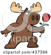 Royalty Free RF Clipart Illustration Of A Romantic Moose Presenting A Single Rose