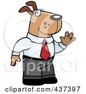 Royalty Free RF Clipart Illustration Of A Business Dog Standing And Waving