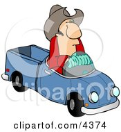 Cowboy Driving A Small Toy Pickup Truck Clipart by djart