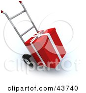 Clipart Illustration Of A Red Gift Loaded On A Hand Truck