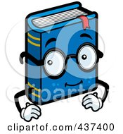 Royalty Free RF Clipart Illustration Of A Blue Book Character Wearing Glasses