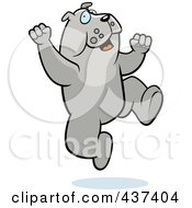 Royalty Free RF Clipart Illustration Of An Excited Bulldog Jumping by Cory Thoman