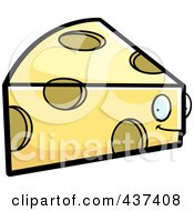 Royalty Free RF Clipart Illustration Of A Swiss Cheese Wedge Character