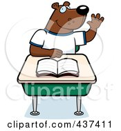 Royalty Free RF Clipart Illustration Of A Student Bear Raising His Hand In Class by Cory Thoman
