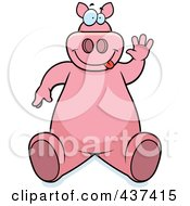 Royalty Free RF Clipart Illustration Of A Friendly Pig Sitting And Waving