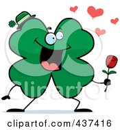Royalty Free RF Clipart Illustration Of A Shamrock Clover Character Holding Out A Rose