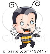 Royalty Free RF Clipart Illustration Of A Happy Bee Boy Running