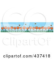 Royalty Free RF Clipart Illustration Of A Border Of Spring Tulips And Pollinating Bees