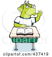 Royalty Free RF Clipart Illustration Of A Student Triceratops Raising His Hand In Class by Cory Thoman