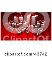 Clipart Illustration Of White Gift Boxes Wrapped With Red Ribbons And Bows