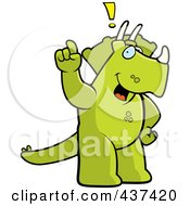 Royalty Free RF Clipart Illustration Of A Triceratops Exclaiming by Cory Thoman