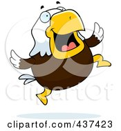Royalty Free RF Clipart Illustration Of A Bald Eagle Jumping