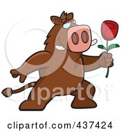 Royalty Free RF Clipart Illustration Of A Romantic Boar Presenting A Single Rose