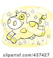 Royalty Free RF Clipart Illustration Of A Yellow Banana Milk Cow Leaping Over Yellow With Stars