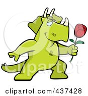 Royalty Free RF Clipart Illustration Of A Romantic Triceratops Presenting A Single Rose