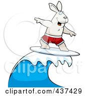 Royalty Free RF Clipart Illustration Of A Surfing Rabbit