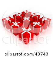 Clipart Illustration Of Nine 3d Gifts Wrapped In Red Paper With White Bows And Ribbons