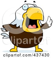 Royalty Free RF Clipart Illustration Of A Bald Eagle Waving by Cory Thoman