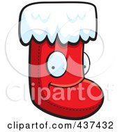 Royalty Free RF Clipart Illustration Of A Happy Christmas Stocking Character