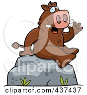 Royalty Free RF Clipart Illustration Of A Friendly Boar Sitting On A Boulder And Waving by Cory Thoman