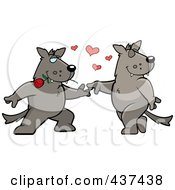 Royalty Free RF Clipart Illustration Of A Wolf Couple Doing A Romantic Dance