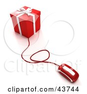 Computer Mouse Connected To A Red Christmas Present