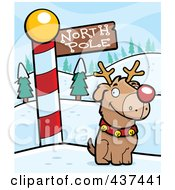 Royalty Free RF Clipart Illustration Of A Rudolph Dog By A North Pole Sign by Cory Thoman