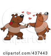 Royalty Free RF Clipart Illustration Of A Bear Couple Doing A Romantic Dance