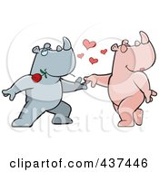 Royalty Free RF Clipart Illustration Of A Rhino Couple Doing A Romantic Dance