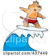 Royalty Free RF Clipart Illustration Of A Surfing Cat