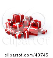 Clipart Illustration Of A Group Of Various Sized Gift Boxes With Ribbons