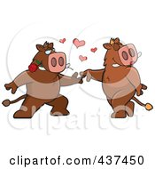 Royalty Free RF Clipart Illustration Of A Boar Couple Doing A Romantic Dance by Cory Thoman