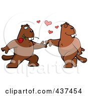 Royalty Free RF Clipart Illustration Of A Beaver Couple Doing A Romantic Dance