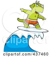 Royalty Free RF Clipart Illustration Of A Surfing Triceratops