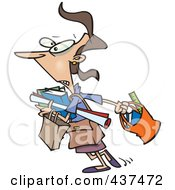 Royalty Free RF Clip Art Illustration Of A Cartoon Teacher Carrying A Lot Of Items To Her Class