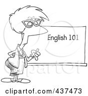Black And White Outline Design Of An English 101 Teacher Standing By A Chalk Board