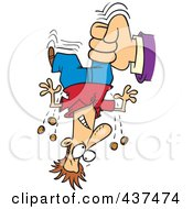 Royalty Free RF Clip Art Illustration Of A Hand Shaking Change From A Cartoon Mans Pockets For Taxes by toonaday