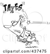 Royalty Free RF Clip Art Illustration Of A Black And White Outline Design Of A Businessman Being Hit From Behind With Taxes