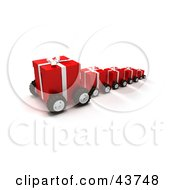 Clipart Illustration Of A Line Of Red Christmas Presents On Wheels