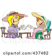 Royalty Free RF Clip Art Illustration Of Happy Girls Playing Dress Up At Tea Time by toonaday