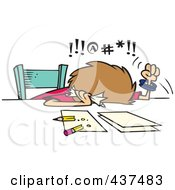 Royalty Free RF Clip Art Illustration Of A Cartoon Cursing Woman Trying To Prepare Her Taxes by Ron Leishman