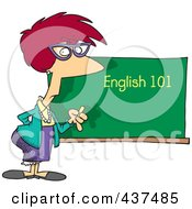Royalty Free RF Clip Art Illustration Of An English 101 Teacher Standing By A Chalk Board