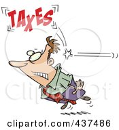 Royalty Free RF Clip Art Illustration Of A Cartoon Businessman Being Hit From Behind With Taxes
